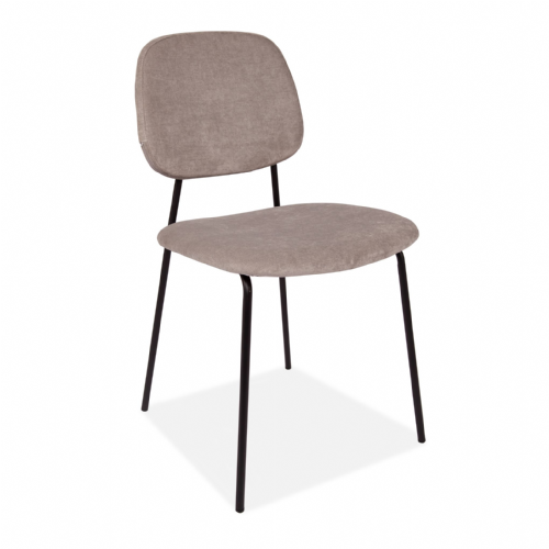 x2 Grey Fabric Lucy Dining Chair with stylish Black Legs